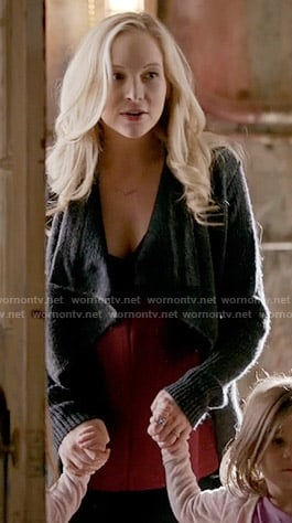 Caroline's grey draped cardigan on The Vampire Diaries