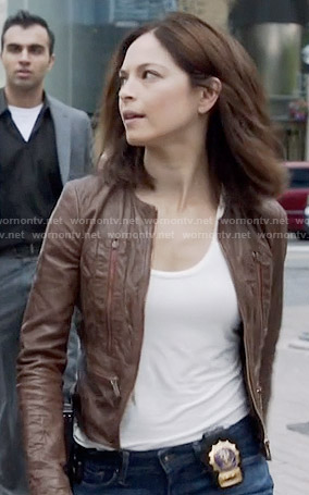 Cat's brown leather jacket on Beauty and the Beast