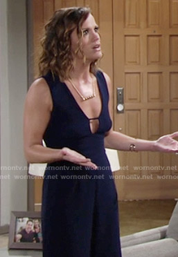 Chelsea's blue culotte jumpsuit on The Young and the Restless