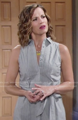 Chelsea's sleeveless shirtdress on The Young and the Restless