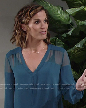 Chelsea's teal v-neck blouse with sheer panel on The Young and the Restless