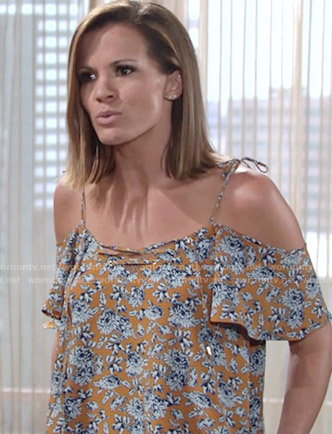 Chelsea's yellow floral off-shoulder top on The Young and the Restless