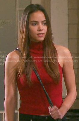 Ciara's red ribbed top on Days of our Lives