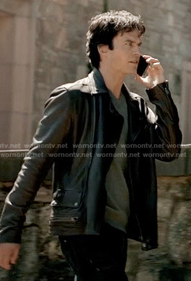 Damon's black leather jacket on The Vampire Diaries