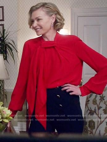 Elizabeth's red twist neck blouse on Scandal
