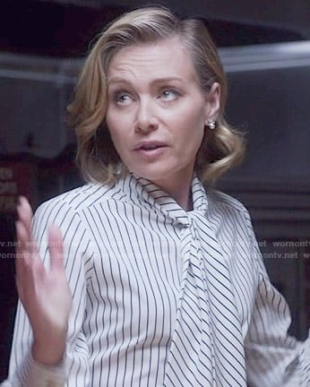 Elizabeth's striped bow neck blouse on Scandal