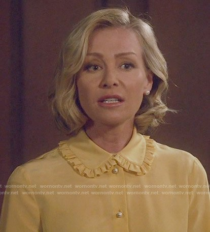 Elizabeth's yellow blouse with ruffled collar on Scandal
