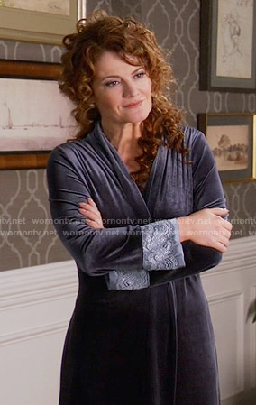 Evelyn's velvet and lace robe on Devious Maids
