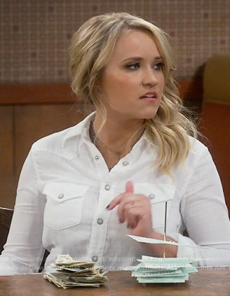 Gabi's white button down shirt on Young and Hungry