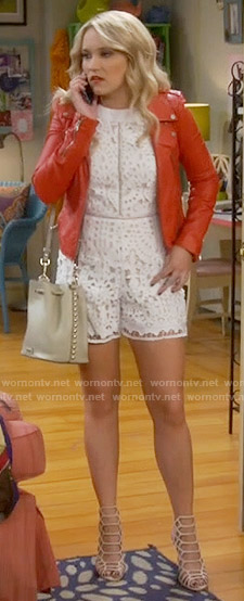 Gabi's white lace romper and red leather jacket on Young and Hungry