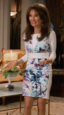Genevieve's white abstract printed long sleeve dress on Devious Maids