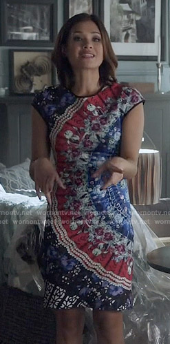 Heather's crystal printed dress on Beauty and the Beast