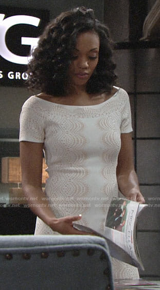 Hilary's white and beige lace print dress on The Young and the Restless