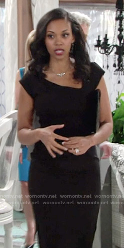 Hilary's black dress with asymmetrical neckline on The Young and the Restless