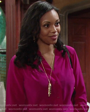 Hilary's pink button front blouse and feather necklace on The Young and the Restless
