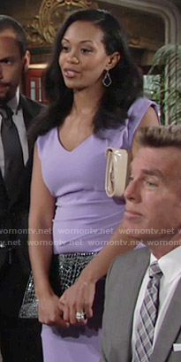 Hilary's purple v-neck dress on The Young and the Restless