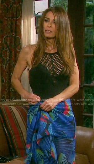 Hope's black crochet panel swimsuit on Days of our Lives