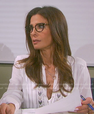 Hope's white pleated blouse on Days of our Lives