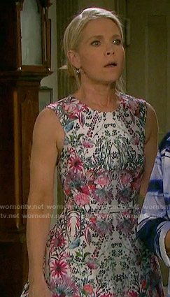 Jennifer's floral printed fit and flare dress on Days of our Lives