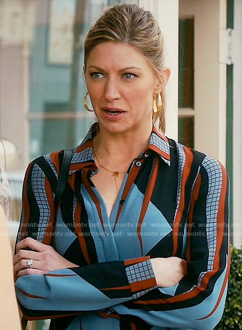 Josslyn's blue and red printed blouse on Mistresses