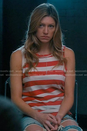 Josslyn's red striped muscle tee on Mistresses