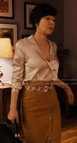 Karen's' tan button front pencil skirt on Mistresses