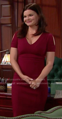 Katie's burgundy v-neck dress on The Bold and the Beautiful