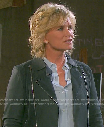 Kayla's grey suede moto jacket on Days of our Lives