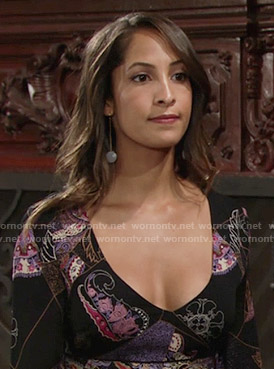Lily's black printed long sleeve dress on The Young and the Restless