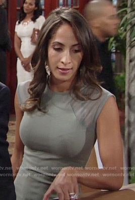 Lily's green mesh panel dress on The Young and the Restless