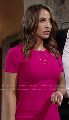 Lily's pink short sleeve dress on The Young and the Restless
