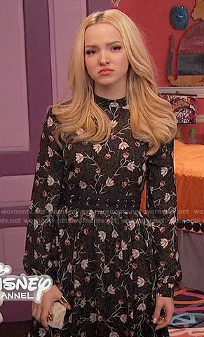 Liv's black floral long sleeved dress on Liv and Maddie