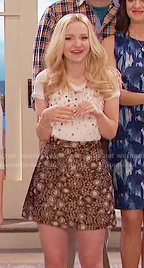 Liv's gold paisley skirt and pearl studded top on Liv and Maddie