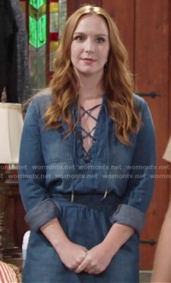 Mariah's denim lace-up dress dress on The Young and the Restless
