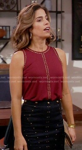 Marisol's red studded top and studded skirt on Devious Maids