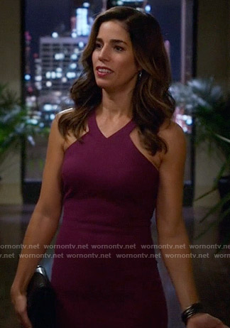 Marisol's purple v-neck dress on Devious Maids