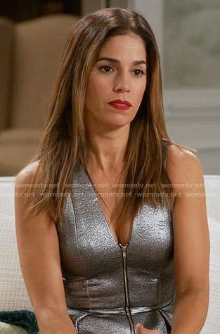 Marisol's silver zip front peplum top on Devious Maids