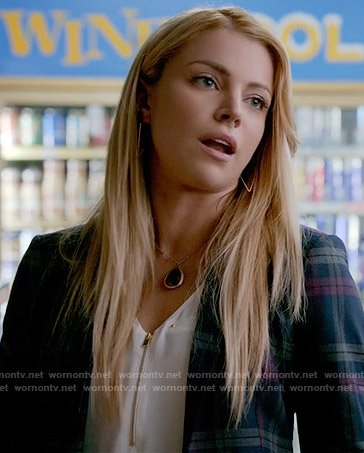 Mary Louise's plaid blazer and white zip front top on The Vampire Diaries