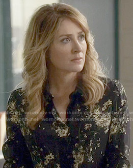Maura's black floral print blouse on Rizzoli and Isles