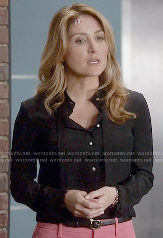 Maura's black pearl button shirt on Rizzoli and Isles