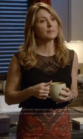 Maura's black embroidered top and printed skirt on Rizzoli and Isles
