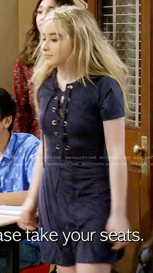Maya's navy suede lace-up dress on Girl Meets World