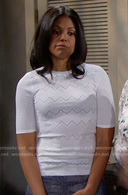 Maya's white chevron top on The Bold and the Beautiful