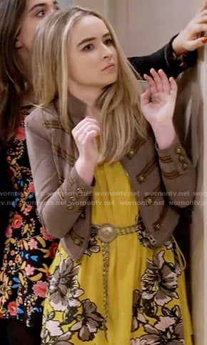 Maya's yellow floral dress and taupe jacket on Girl Meets World