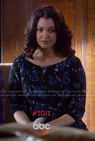 Mellie's black and blue floral dress on Scandal
