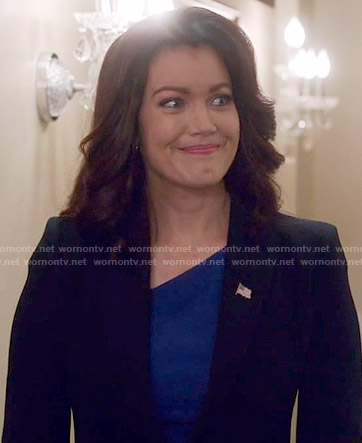 Mellie's blue asymmetric neck dress on Scandal
