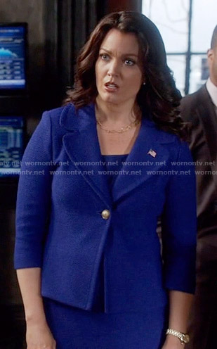 Mellie's blue blazer with gold button on Scandal