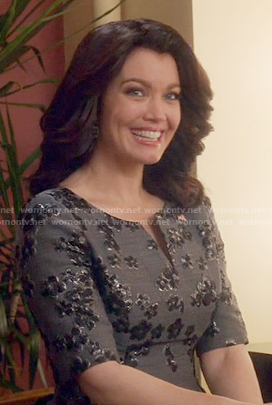Mellie's grey floral dress on Scandal