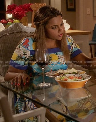 Mindy's blue graphic print dress on The Mindy Project