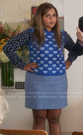 Mindy's blue heart print sweater vest on The Mindy Project